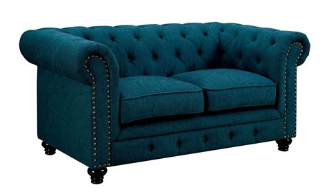 Teal Loveseat by Furniture Of America Stanford Teal Fabric Loveseat