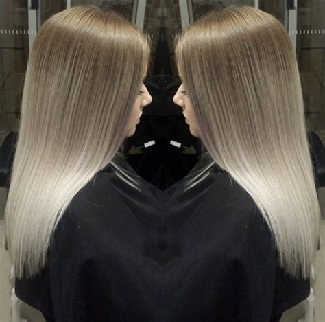 balayage hair ash brown  platinum blonde source