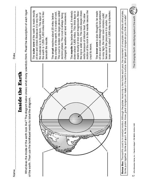 layers of the earth worksheet 6th grade science tools science worksheets science lessons