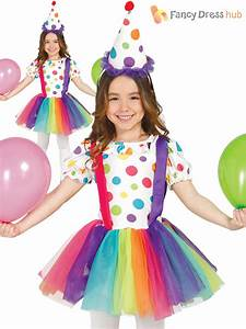 Girls Rainbow Clown Costumes Childs Circus Fancy Dress Kids Book Week Day Outfit   eBay