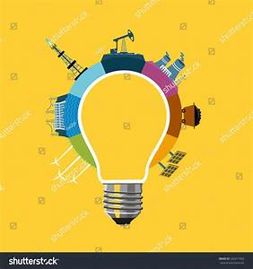 Energy Generation Concept Bulb Diagram Power Stock Vector
