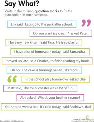 Quotation Marks Say What?  Worksheet Educationcom