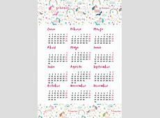 calendarios2018gratisimprimirunicornios Yo Blogueo