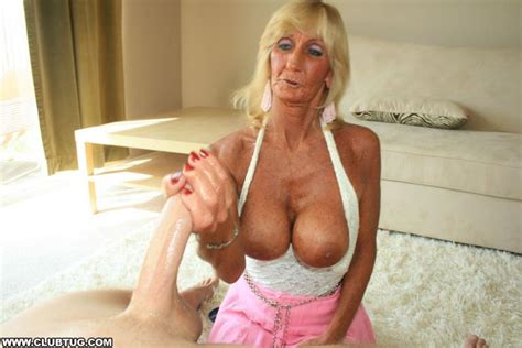 Naughty Busty Granny Jerks Off A Cock With Her Tits And Hands