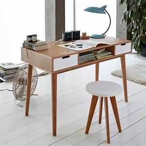 Pied De Meuble Vintage : bureau vintage jimi avec 2 tiroirs et des pieds ronds ~ Dallasstarsshop.com Idées de Décoration