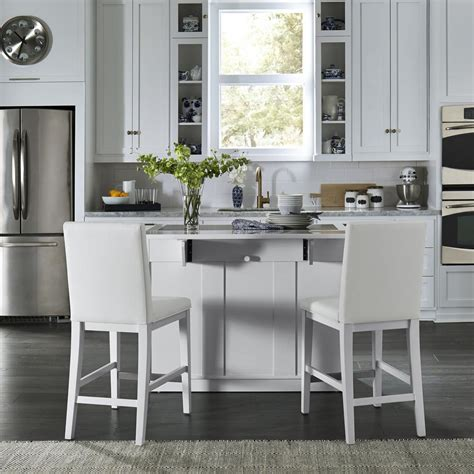 home styles linear white kitchen island   bar stools