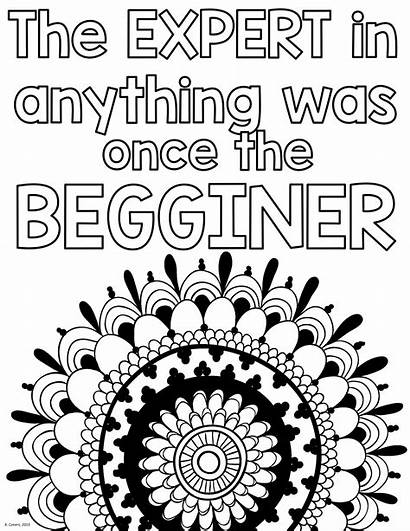 Mindset Growth Coloring Pages Quotes Adult Sheets