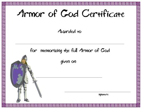Free Vbs Certificate Templates by Www Certificatetemplate Org Armor Of God Certificate For