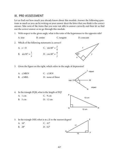 Math Worksheets Trigonometric Ratios  Practice B Trigonometric Ratios 9th 10th Grade Worksheet