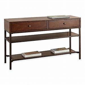 Steve silver co hayden sofa table in cherry bed bath for Bed bath and beyond sofa table