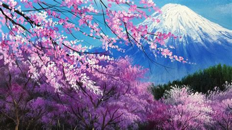 cherry blossoms   mt fuji acrylic painting