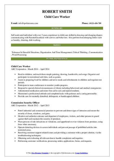 Child Care Worker Resume by Child Care Worker Resume Sles Qwikresume