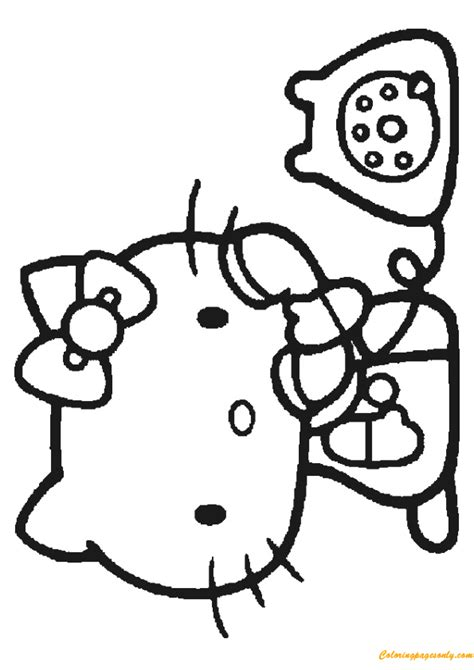 kitty playing  phone coloring page  coloring