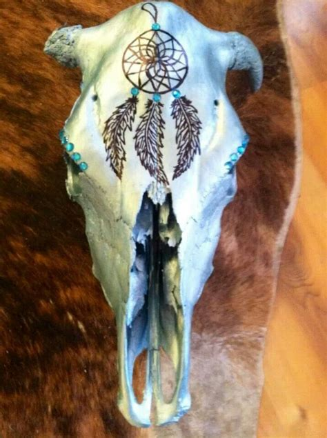 decorated cow skull metallic turquoise crystals dream