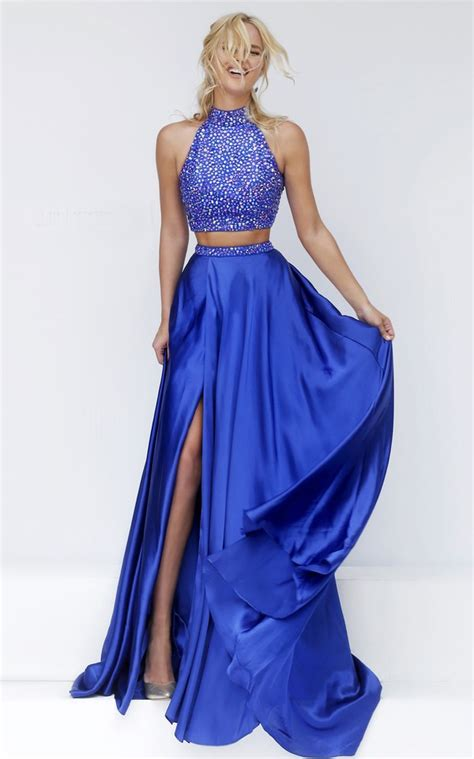 Stunning Halter High Slit Two Piece Long Royal Blue Satin