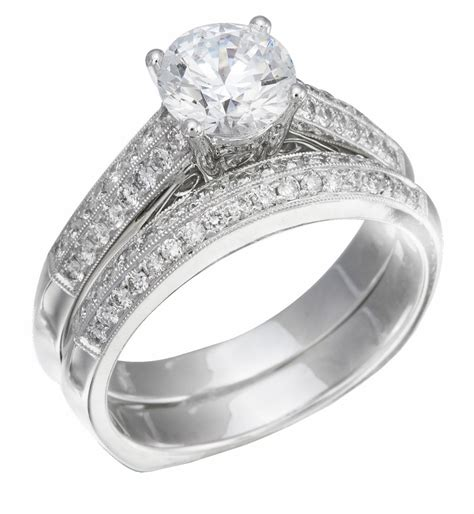 wedding ring set white gold with diamonds on ring band