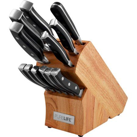 walmart kitchen knives purelife 12 knife block set walmart