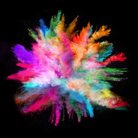 explosion of colors colorful powder on blast id glass