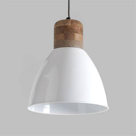 large white and wood pendant light by