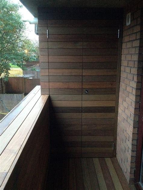 balcony storage bespoke hardwood storage unit balcony roof terrace ipe hardwood deck islington battersea clapham