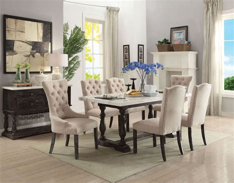 Espresso Dining Room Set by Acme Gerardo White Marble And Weathered Espresso Dining