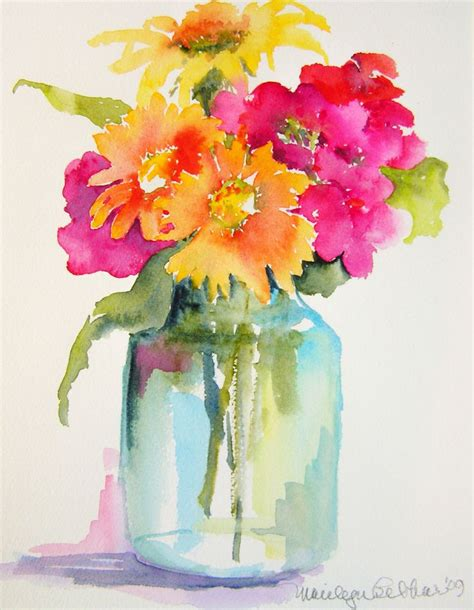pink orange yellow flowers in jar vase