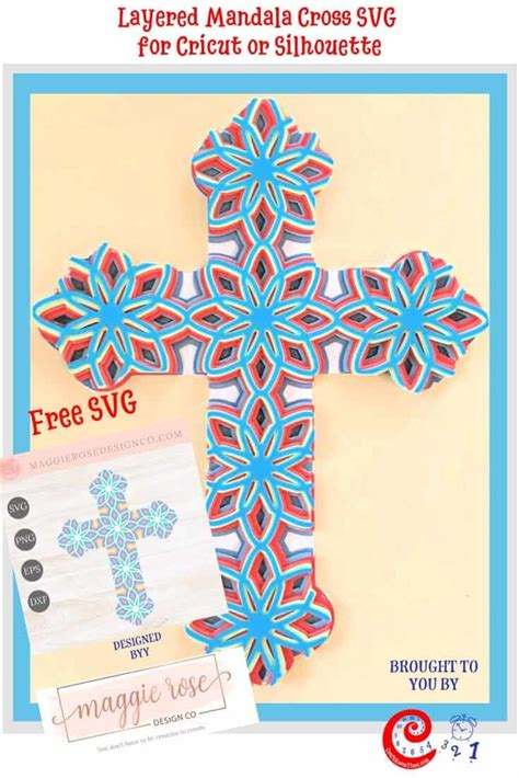 Maggie did an excellent job creating this beautiful layered mandala cross. Layered Mandala Cross SVG for Cricut or Silhouette