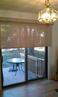 shade wide enough to cover fixed and sliding portion of door continuous loop image