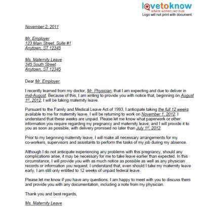 printable examples  maternity leave letters pregnancy