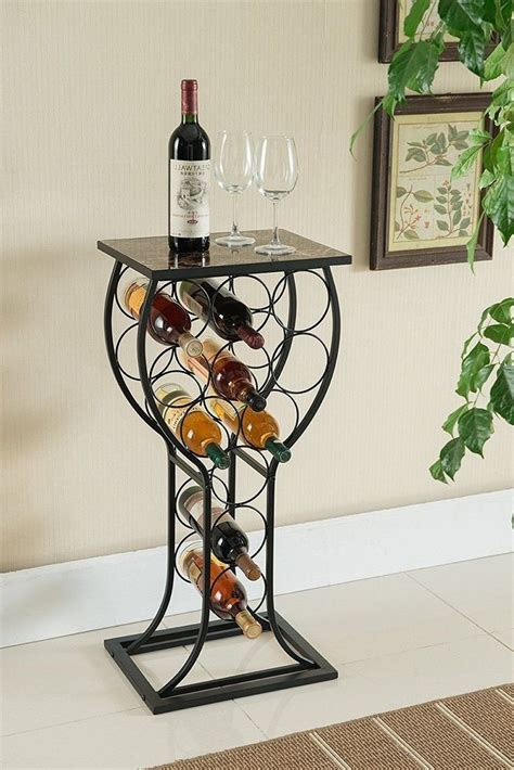 wine bottle storage table bar metal display rack organize marble top glass shape   metal