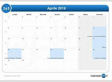 Calendario aprile 2019