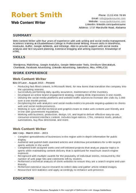 Resume Content by Web Content Writer Resume Sles Qwikresume