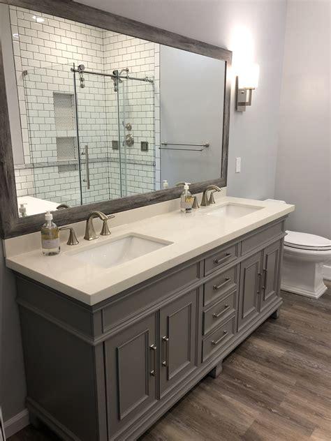 grey atcostco vanity grey  white bathroom luxury vinyl