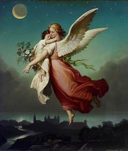 Victorian Angel, Vintage Guardian Angel carries child ...
