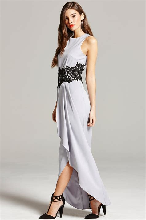 grey and black lace overlay maxi dress from