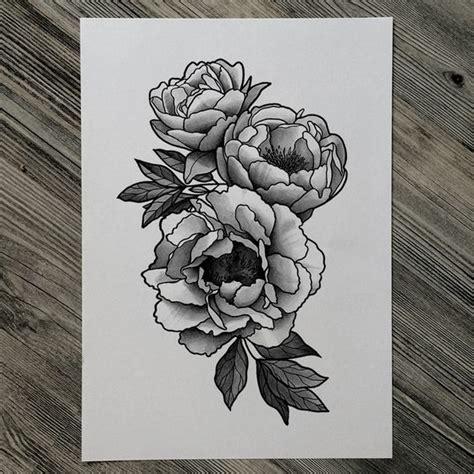 black  white peony tattoos designs  ideas