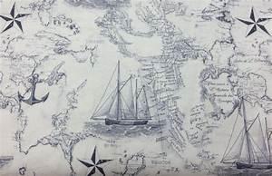 Nautical Sea Chart Map Navy Blue Off White Sea Ship Anchor ...