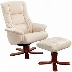 GFA Shanghai Cream Bonded Leather Swivel Recliner Chair