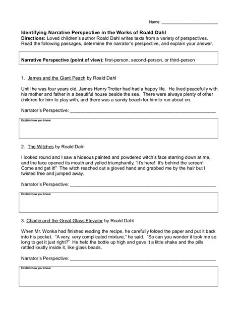 identify point of view worksheet worksheets for all