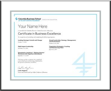 earn  certificate executive education