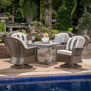 Alameda, Outdoor, 5, Piece, Wicker, Swivel, Club, Chairs, With, Gas, Burning, Fire, Pit, Brown, Ceramic, Grey