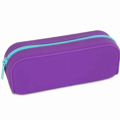 Pencil Case Silicone Purple Cases Assorted Bmstores