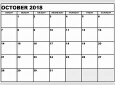 October 2018 Blank Printable Calendar Templates Download