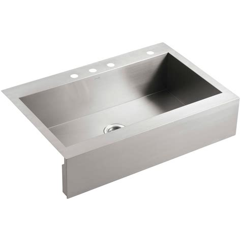 top mount farmhouse sink stainless kohler vault drop in farmhouse apron front stainless steel