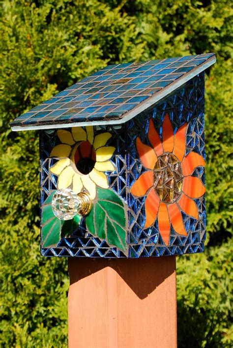 bird house stained glass mosaic daisy flower natureunderglass