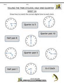 2nd math time worksheet o 39 clock quarter and half past