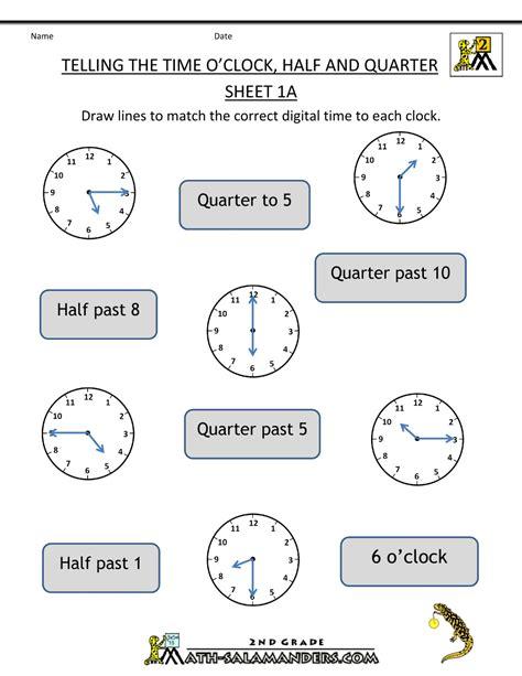 kindergarten time worksheet o clock quarter and half