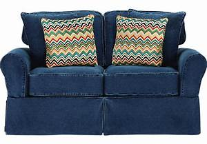 Cindy crawford home sunny isles blue loveseat isofa hidden for Cindy crawford furniture replacement slipcovers