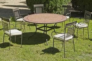 Table De Jardin Ronde : table ronde de jardin et 6 fauteuils belice vigo ~ Teatrodelosmanantiales.com Idées de Décoration