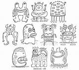 Coloring Monsters Crazy Monster Printable Pdf Drawing Monstre Colorier Drawings Dessin Coloriage Extraterrestres Dibujos Maternelle Monstres Colorear Jelene Colouring Doodle sketch template
